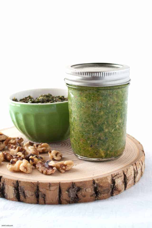 A different take on pesto using Swiss chard and walnuts.
