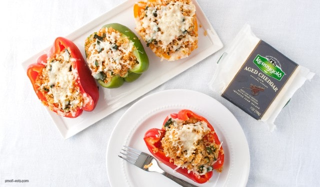 Make a big batch of these Quinoa Stuffed Bell Peppers with Kerrygold cheddar to cover meals during a busy week.