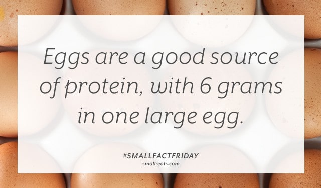 Eggs are a good source of protein, with 6 grams in one large egg. #smallfactfriday
