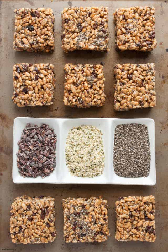 Up your rice crispy game with some chia, cacao and hemp for a healthier treat. | Healthy Superfood Rice Crispy Treats from small-eats.com