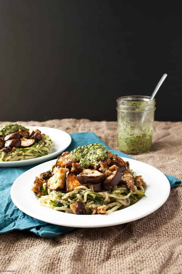 Learn how to find the bones of a dish to have a little more fun with it, starting with this Eggplant Pesto Zoodle dish with Crumbled Tempeh. | Eggplant Pesto Zoodle with Crumbled Tempeh from small-eats.com