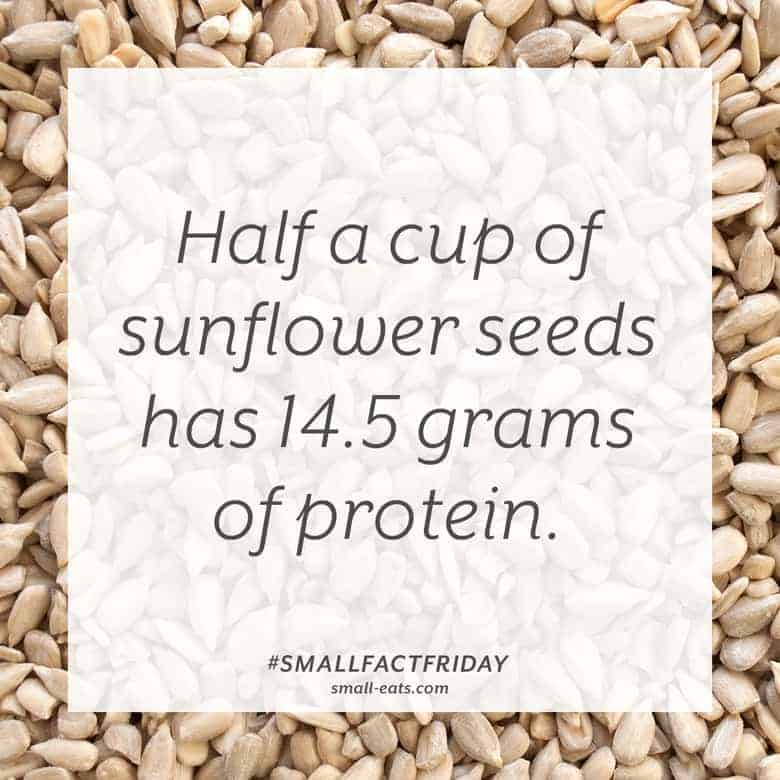 Half a cup of sunflower seeds has 14.5 grams of protein. #smallfactfriday