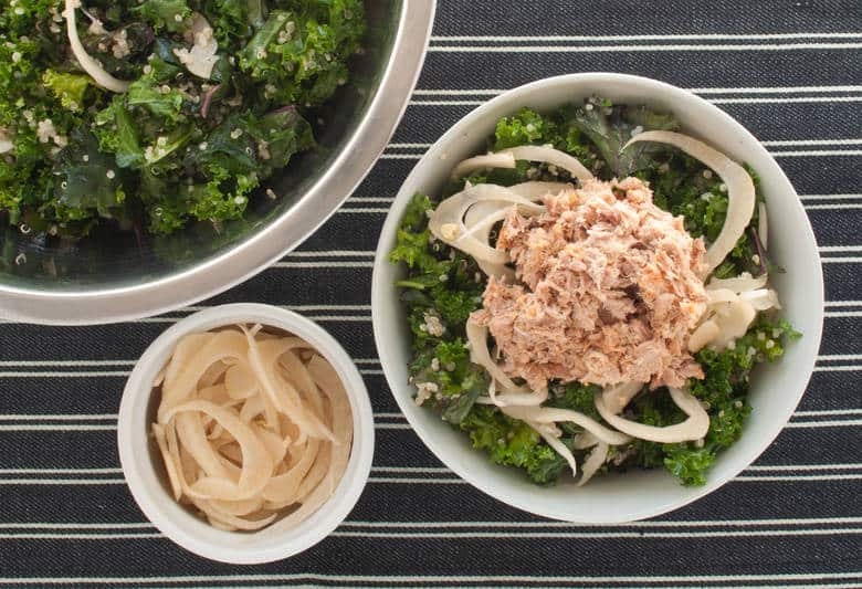 A massaged kale salad with a tahini tuna salad with a touch of fall with pickled fennel. | Massaged Kale Tuna Salad with Pickled Fennel from small-eats.com