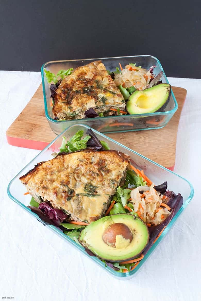 A crustless quiche with a side salad perfect for a lunch on the go or at work. | Crustless Quiche with Salad from small-eats.com