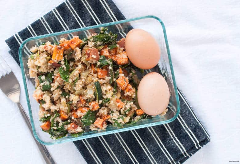 Embrace summer with a cauliflower rice mixed with zucchini, Swiss chard, sweet potatoes and an hard boiled egg. | Summer Cauliflower Rice from small-eats.com