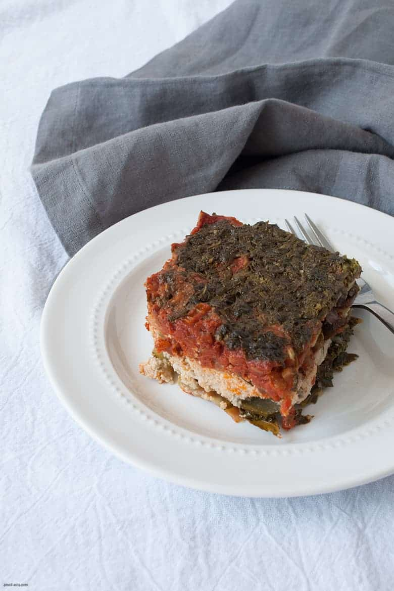 A hearty gluten and dairy free lasagna topped with a cheese-free pesto.  | Zucchini Lasagna with Cashew Ricotta from small-eats.com