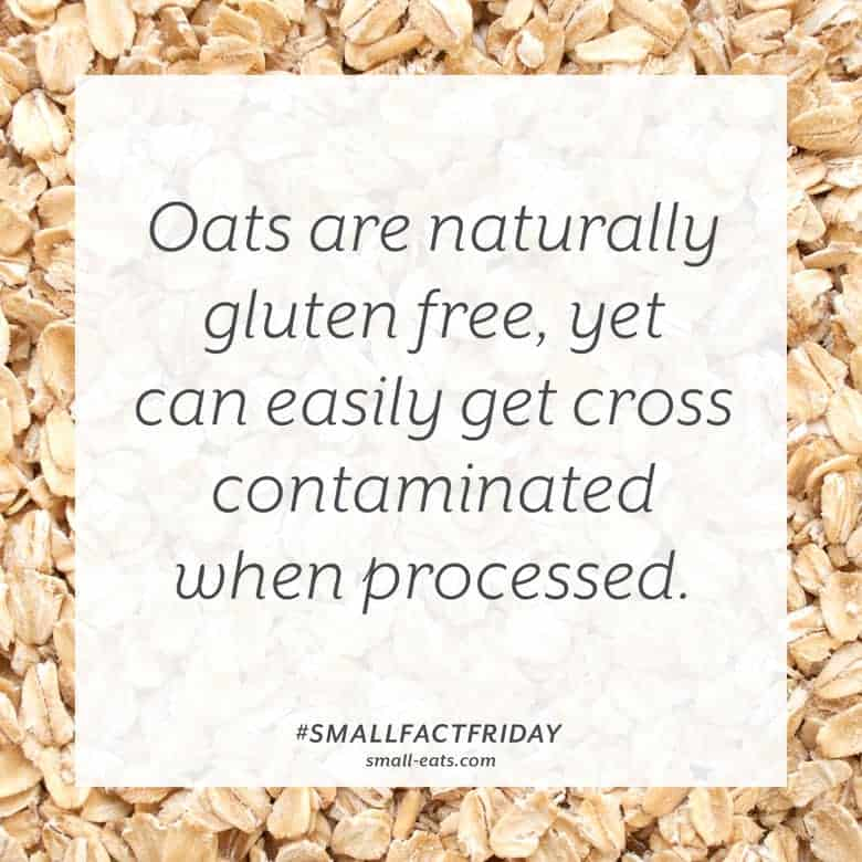 Oats are naturally gluten free, yet can easily get cross contaminated when processed. #smallfactfriday