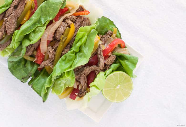 Enjoy a low carb and gluten free take on steak fajitas. | Keto Steak Fajitas from small-eats.com