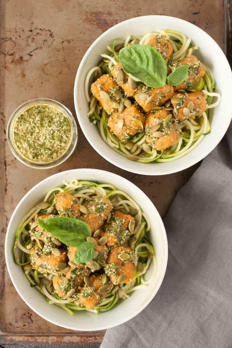 Gluten-free gnocchi with a spicy pesto that's great for a Sunday night meal from Debbie Adler's latest book, Sweet, Savory and Free. | Yam Gnocchi with Sriracha Pesto from small-eats.com