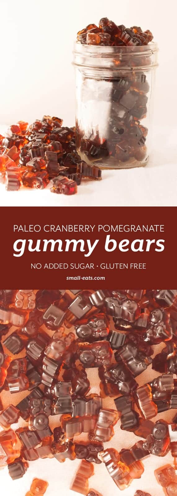 Upgrade your gummy bear experience with these easy, paleo friendly gummy bears sweetened with wintery flavors. | Paleo Cranberry Pomegranate Gummy Bears from small-eats.com