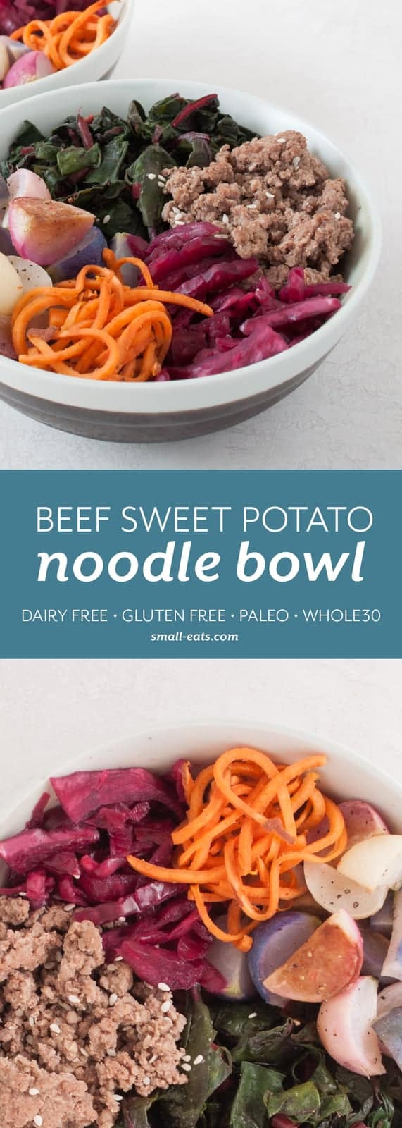 Enjoy a gluten and grain free sweet potato bowl with ground beef, roasted radishes, Swiss chard and sauerkraut. | Beef Sweet Potato Noodle Bowls from small-eats.com
