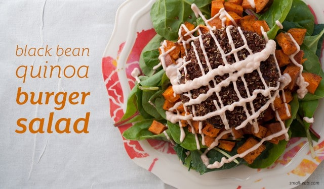 Black Bean Quinoa Burger Salad from small-eats.com