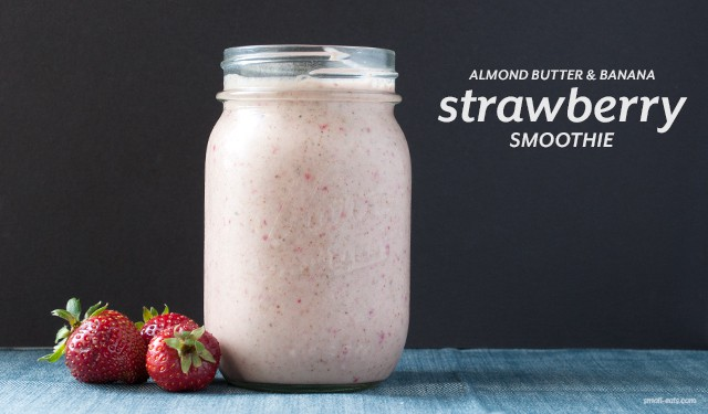 Almond Butter and Banana Strawberry Smoothie from small-eats.com