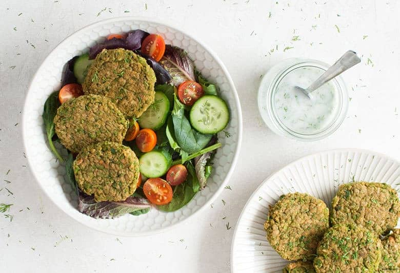 Enjoy a spring-y, green and baked take on a falafel. | Baked Green Pea Falafel from small-eats.com
