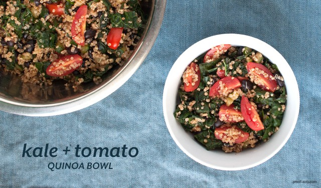 A summer-y quinoa bowl with tomatoes, zucchinis, kale and black beans perfect for any meal.