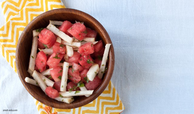 Cool off with a refreshing and simple Watermelon Mint Jicama Salad from small-eats.com.