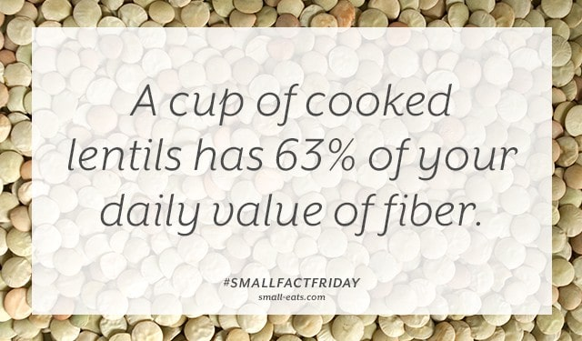 A cup of cooked lentils has 63% of your daily value of fiber. #smallfactfriday