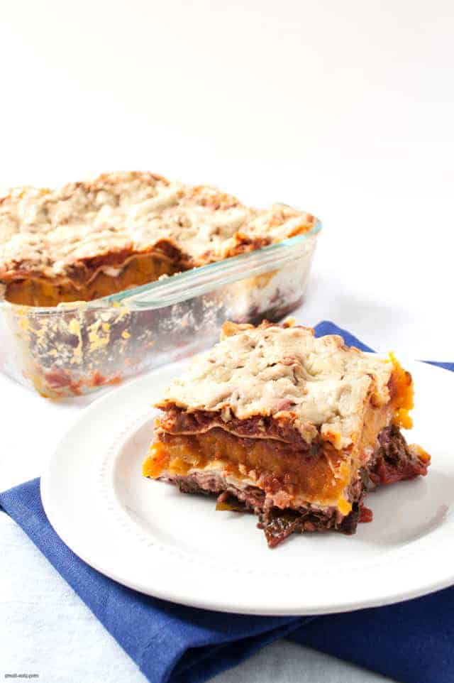 A filling, vegetarian lasagna with butternut squash and swiss chard, perfect for any day of the week.