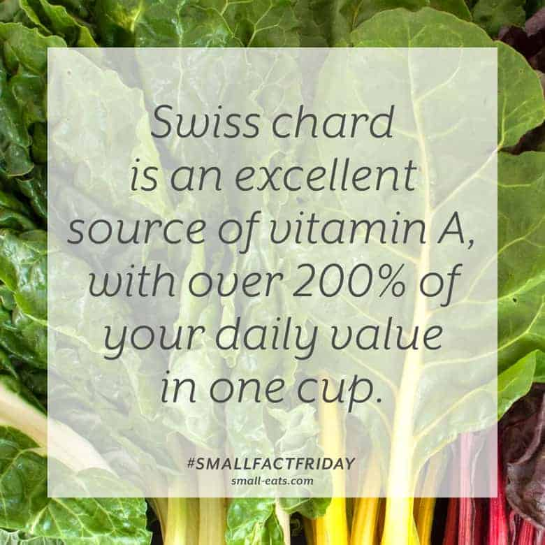 Swiss chard is an excellent source of vitamin A, with over 200% of your daily value in one cup. #smallfactfriday