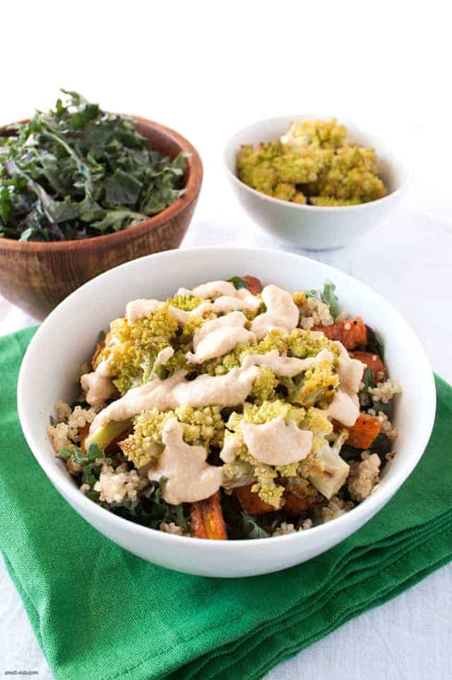 A kale and quinoa salad packed with roasted veggies and a bright lemon dressing to add a pop of color to your next meal.