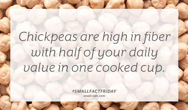 Chickpeas are high in fiber with half of your daily value in one cooked cup. #smallfactfriday