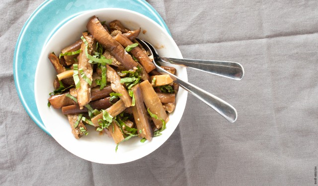 A roasted eggplant side dish with Chinese flavors and a bit of heat. | Spicy Roasted Eggplant from small-eats.com