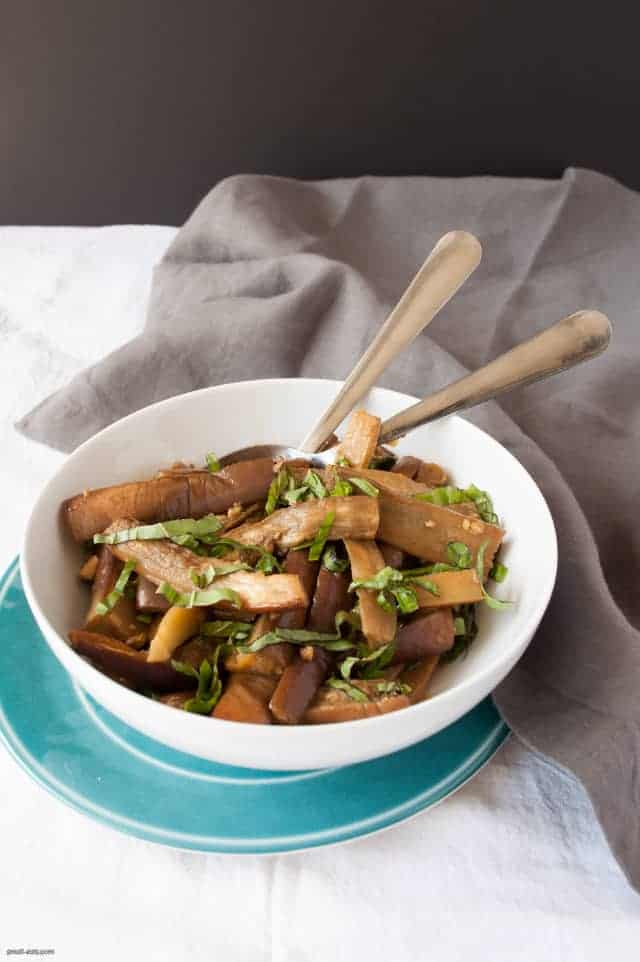 A roasted eggplant side dish with Chinese flavors and a bit of heat.   Spicy Roasted Eggplant from small-eats.com
