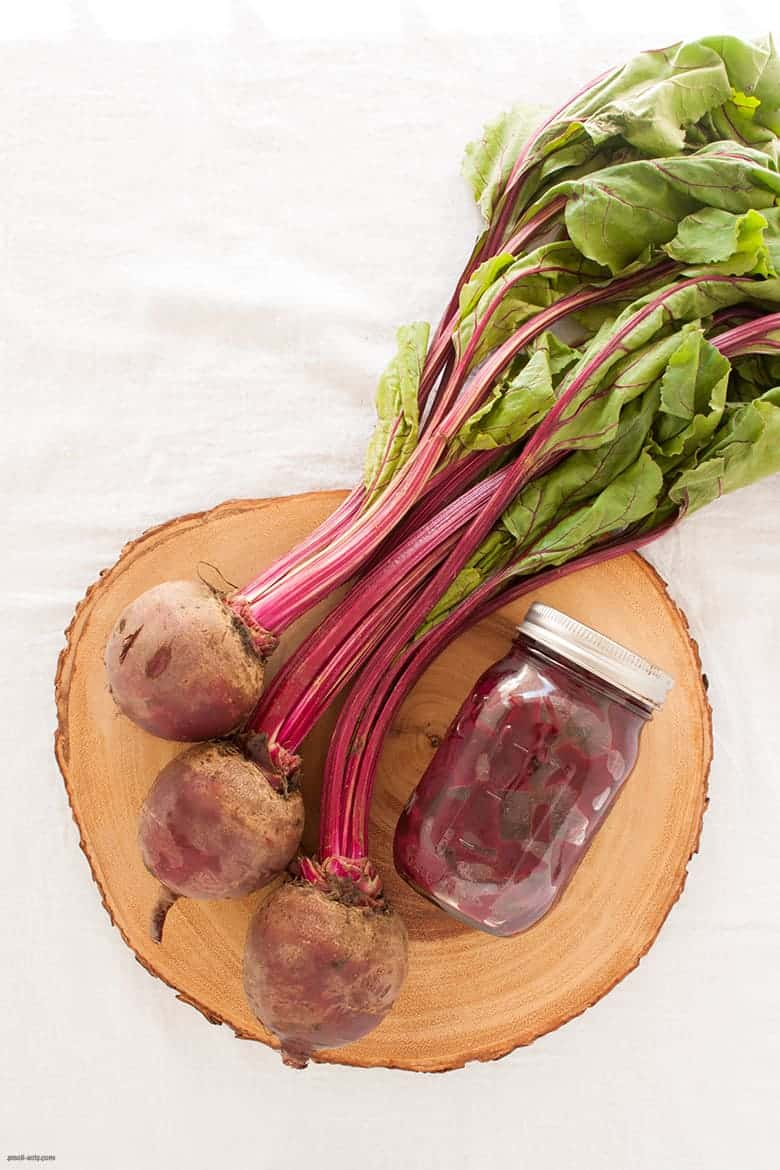 An easy pickled beet recipe that makes one for yourself and to gift to a friend. | Pickled Roasted Beets from small-eats.com