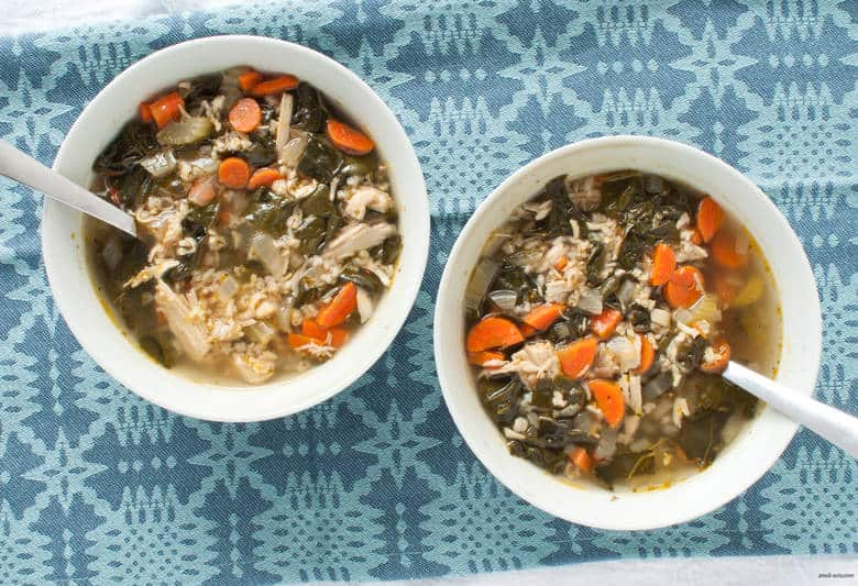 Let your slow cooker do the work for your next batch of comforting and veggie-packed chicken soup. | Slow Cooker Chicken Soup with Rice from small-eats.com