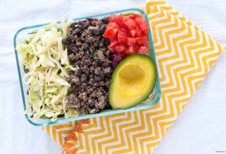 A grain free, gluten free taco salad packed with ground beef, beans, and lots of vegetables. | Taco Salad from small-eats.com