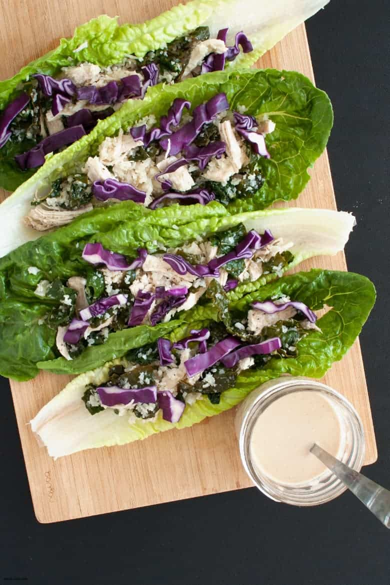 A full meal of shredded chicken, cauliflower and kale wrapped in lettuce. | Paleo Shredded Chicken Wraps from small-eats.com
