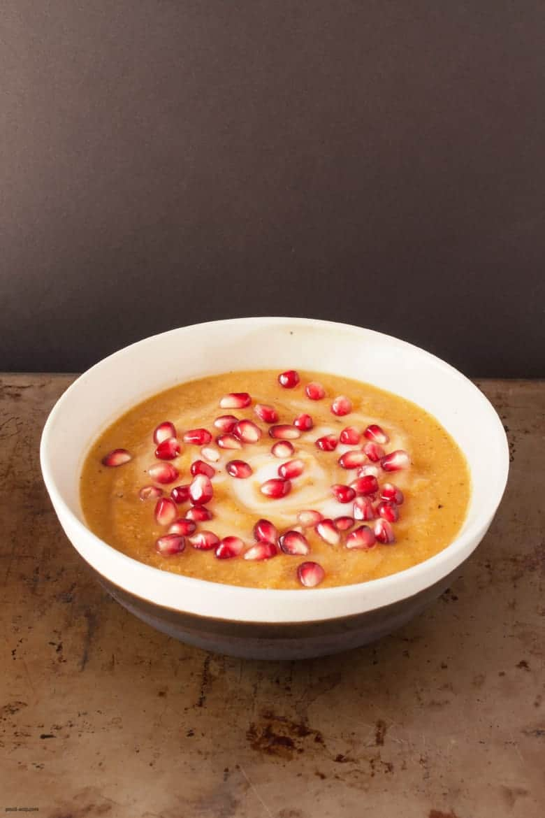 Combine fall flavors into one filling savory, slightly sweet soup. | Roasted Squash and Cauliflower Soup from small-eats.com
