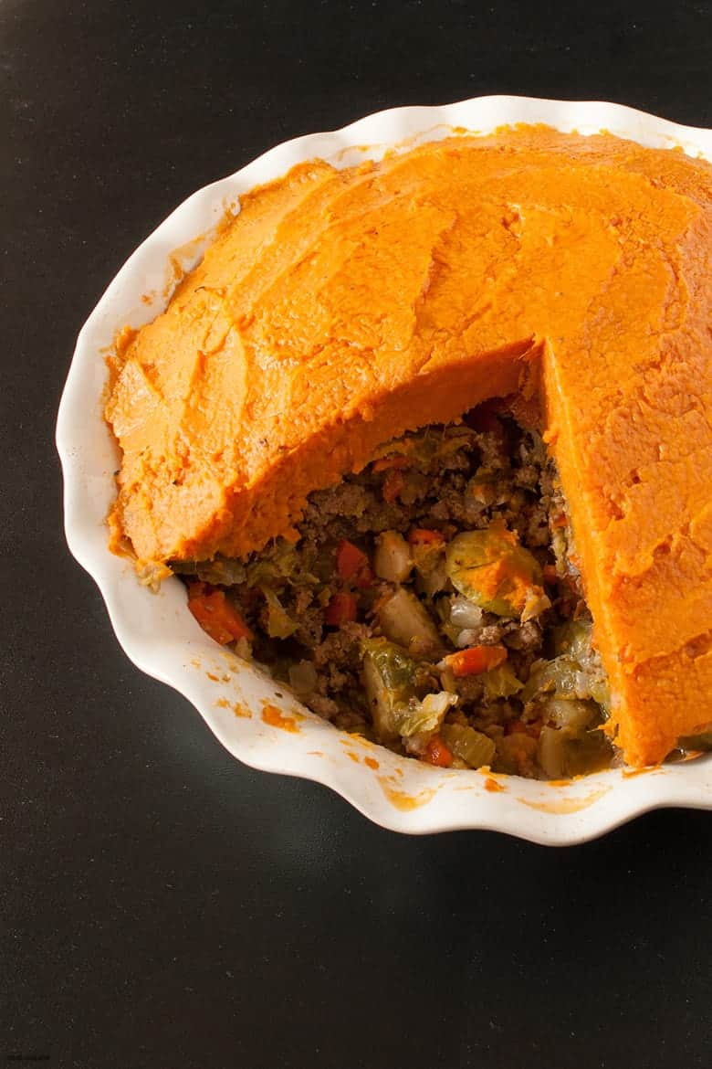 Enjoy a sweet potato, paleo twist on the classic Shepherd's pie. | Paleo Sweet Potato Shepherd's Pie from small-eats.com