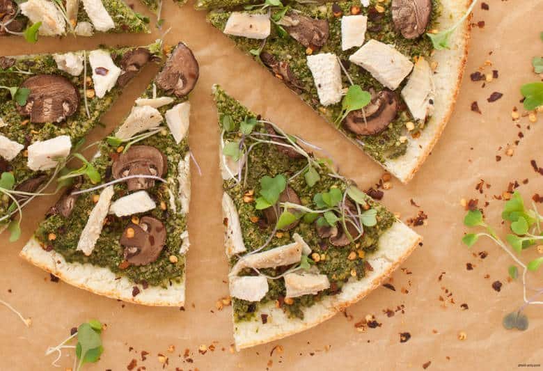 A simple and delicious dairy free and gluten free pizza perfect for a quick weeknight dinner or entertaining friends from Alisa Flemings' new book, Eat Dairy Free. | Mushroom Pesto Pizza from small-eats.com