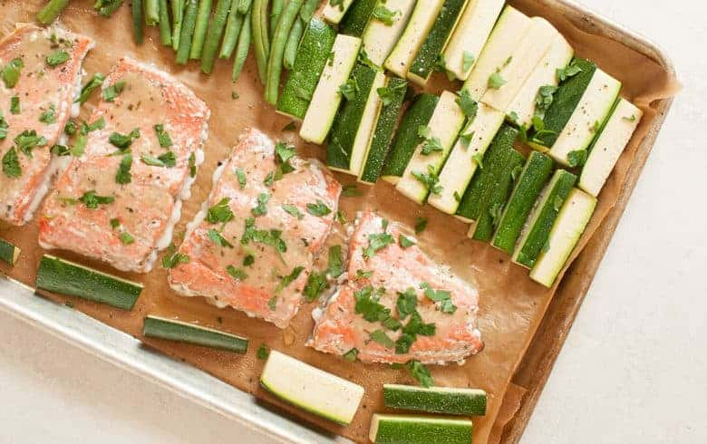 A simple and tasty salmon dinner that's packed with veggies and easy to make any night of the week. | Salmon Sheet Pan Dinner from small-eats.com